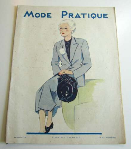 1930s Vintage French Magazine Mode Pratique March 1935 Flapper Fashion & Sewing