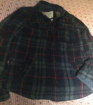 Abercrombie and Fitch Red Plaid Sherpa Lined Stony Creek Jacket Mens Small