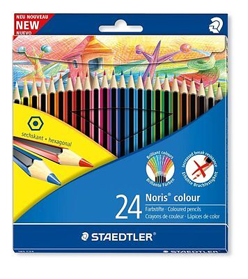 24 x Staedtler Norris Club Colouring Pencils - Hexagonal Shape, Anti-Break Leads