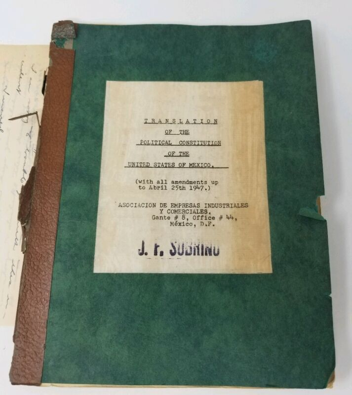 Translation -The Political Constitution of The United States of Mexico 1947 Rare