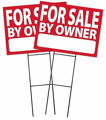 Large 18x24 For Sale By Owner - Red - Sign Kit With Stands - 2 Pack