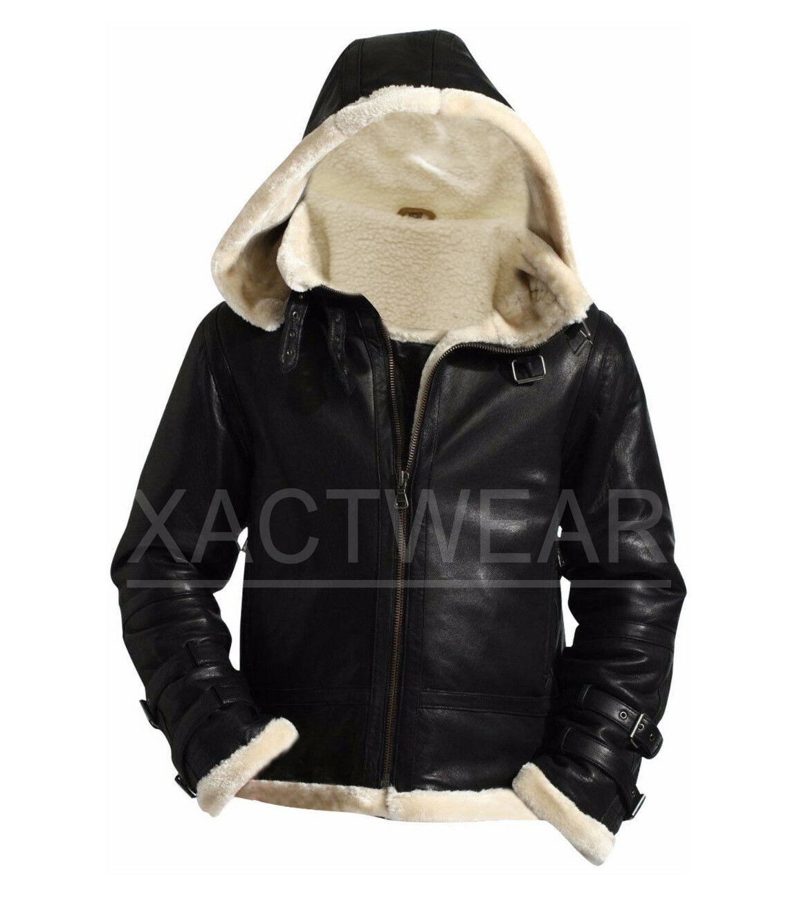 Men's Stylish B3 Bomber Full Fur Removable Hood Genuine Leat