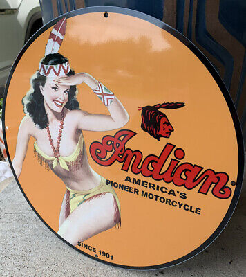 Vintage Style Indian Motorcycle Girl Steel Metal Top Quality Sign