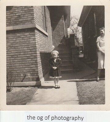 Posed Little Girl FOUND PHOTO Original BLACK + WHITE Free Shipping SWEET D 7516
