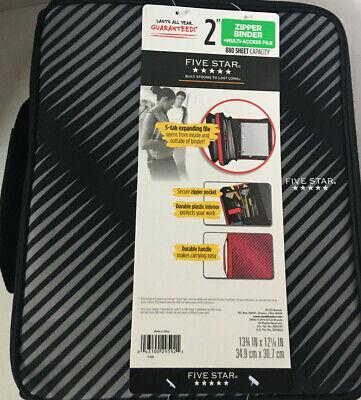 Five Star Zipper Binder 2 Inch 3 Ring Binder 6-pocket Expanding File Durable