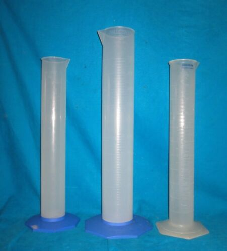 Two Nalgene 2000ml & One Baxter 1000ml Polypropylene Graduated Cylinders