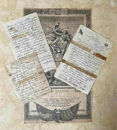 ORIGINAL WW1 US ARMY FIRST NEW JERSEY REGT.- FRENCH MEMORIAL DOCUMENT + 3 LETR