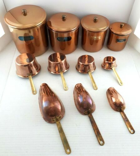 Vtg 15 Pce Lot Copper Tone MCM Country Kitchen Canisters Scoops Measuring Cups