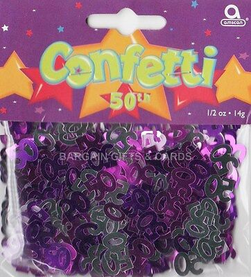 1 PACK 50TH BIRTHDAY CONFETTI PINK TABLE DECORATION IDEAL FOR PARTIES (PINK)