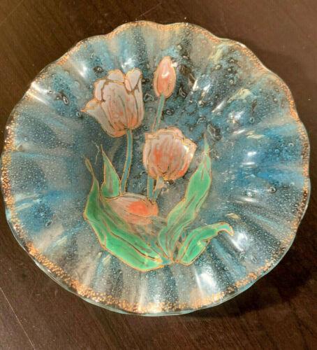 Handmade vintage, Sydenstricker Glass, tulip flower, glass Plate