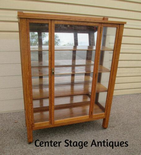 58589   Mission Oak Bookcase Curio China Cabinet