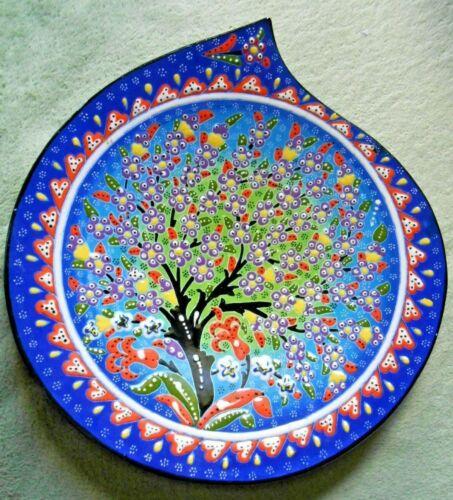 Turkish Hand Painted Iznik Ceramic Wall Hanging Plate  Tree Life Hearts Tulips
