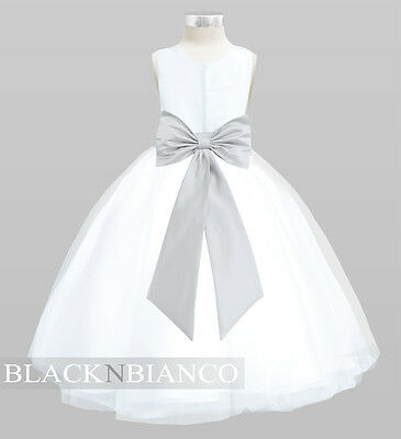 WHITE FLOWER GIRL DRESS With Removable Silver Bow Flower and Sash - White And Silver Flower Girl Dresses
