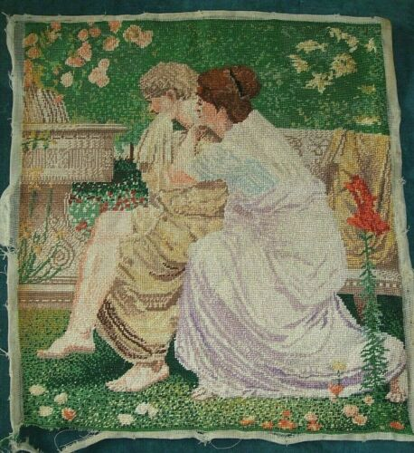 Very finely worked needle work embroidery of a couple