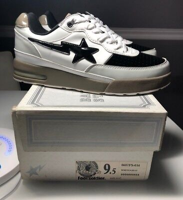 A Bathing Ape Bape Bape Sta Roadsta FootSoldier Sz US 9.5 WHITE/GRAY KYOTO CITY