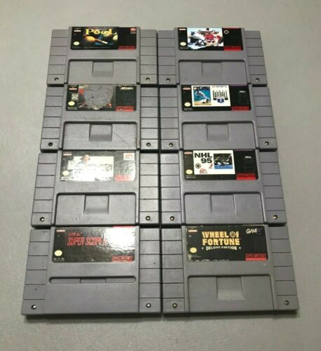 SNES Video Game Bundle 8 GAMES Super Nintendo Entertainment System Sports Tested