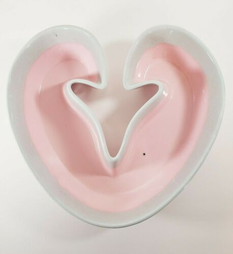 Vintage Hull Pottery Pink & Blue Heart Shaped Dish Bowl Pastel Drip Glaze