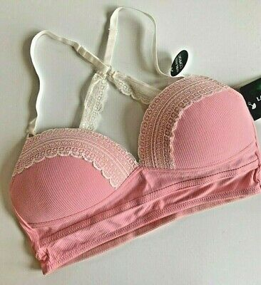 Lace Longline Soft Cup - LAURA ASHLEY Bra SOFT CUP M Bralette Longline Ribbed Lace Racerback Pink NWT