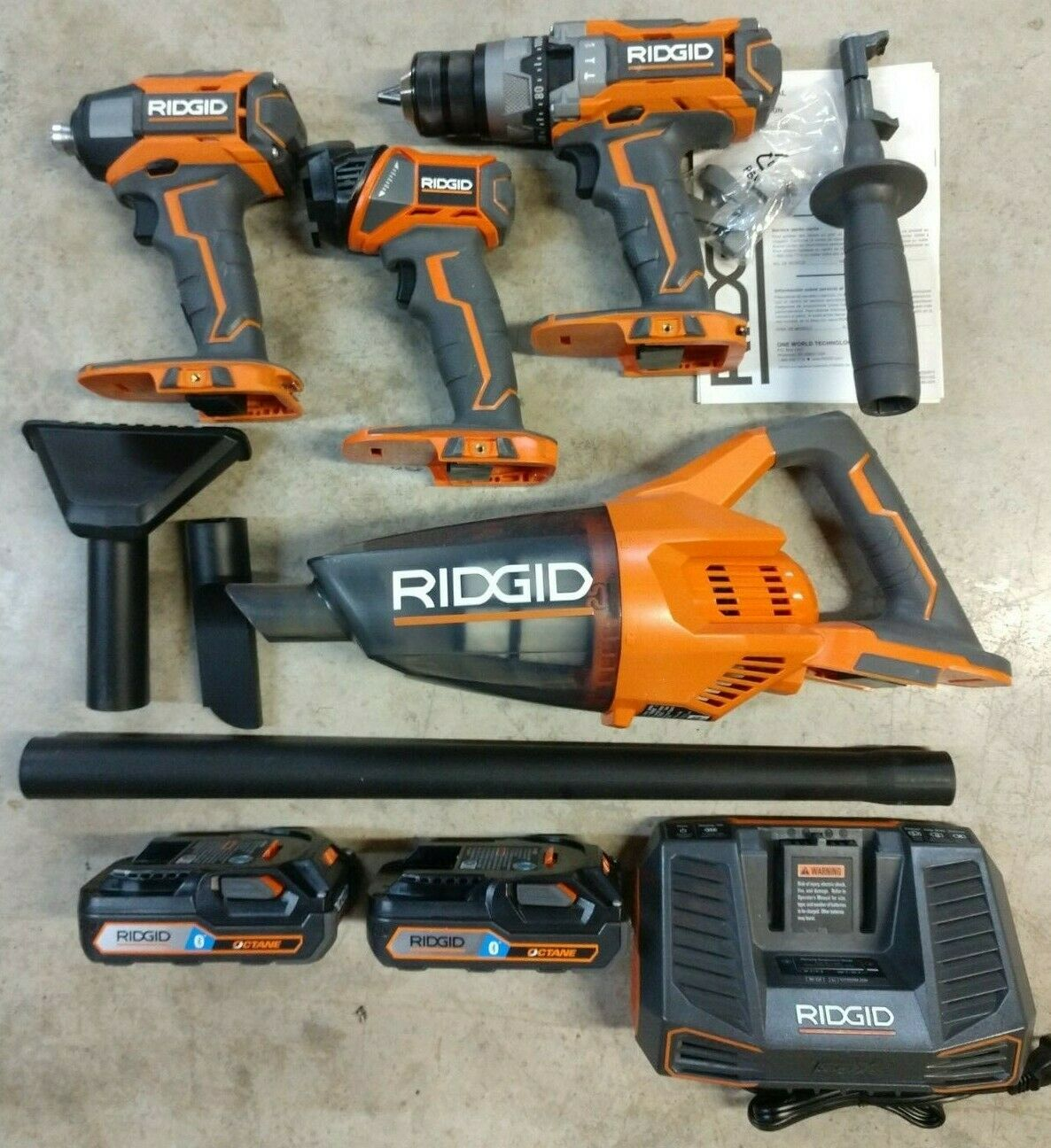 RIDGID 18V Cordless 4 Tool Combo Kit w/ 2 Battery & Charger