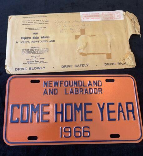 """1966 NEWFOUNDLAND & LABRADOR CANADA """"COME HOME YEAR"""" LICENSE PLATE W/Envelope"""