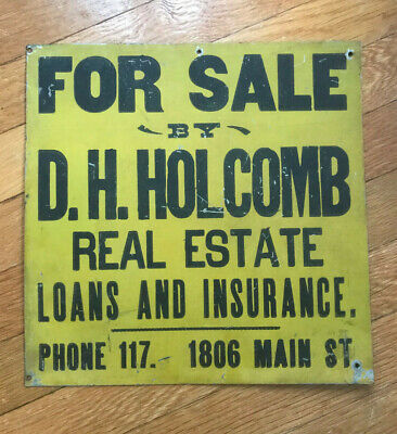 Vtg For Sale D H Holcomb Real Estate Loans Insurance Metal Painted Sign Phone 11