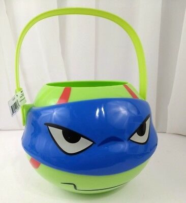 TMNT Leonardo Head Hard Plastic Candy Bucket for Easter Halloween or Gift Basket - Halloween Gift Baskets For Kids