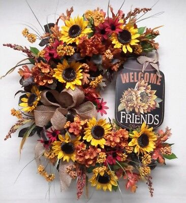Flower Door Wreath Fall Autumn Wreath Sunflower Welcome Sign Wreath SALE! ()