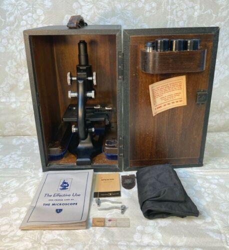 Vintage Spencer Monocular Microscope w/ Case Multiple Lenses