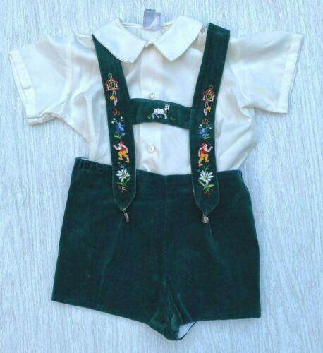Vintage Toddler Boy Velvet Lederhosen Shorts Made In Switzerland Size 2T