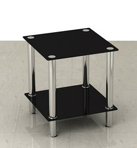 Black Glass & Stainless Steel Small Display Stand