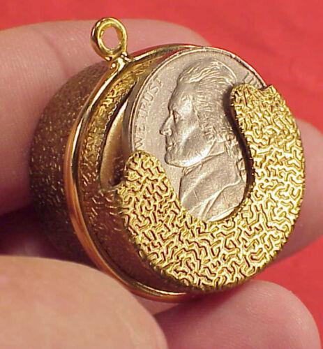 VINTAGE CHANGER Metal Coin NICKEL 5c Change Holder Dispenser BELT PURSE FOB