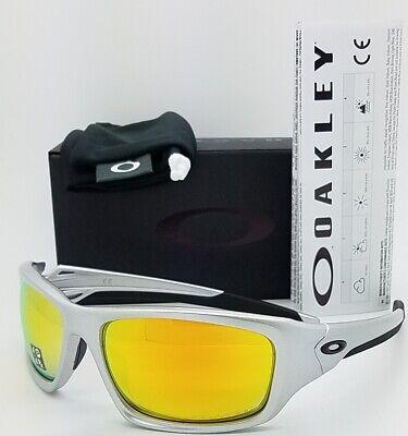 NEW Oakley Valve sunglasses Silver Fire Iridium Polarized 9236-07 AUTHENTIC (Oakley Fire Iridium Polarized)