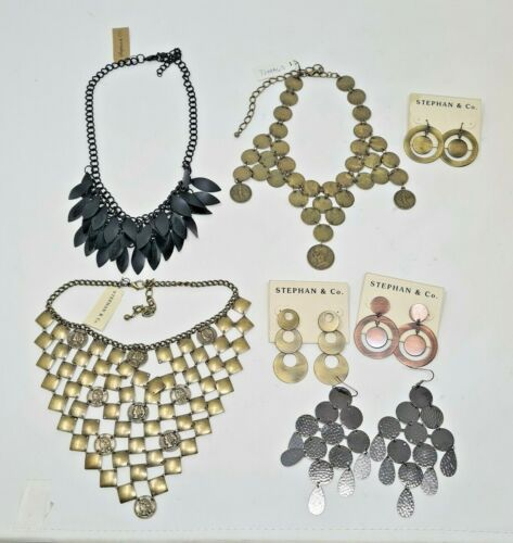 7 pc Vintage style Disk Coin Statement Necklaces Earrings Stephan Co. Wholesale