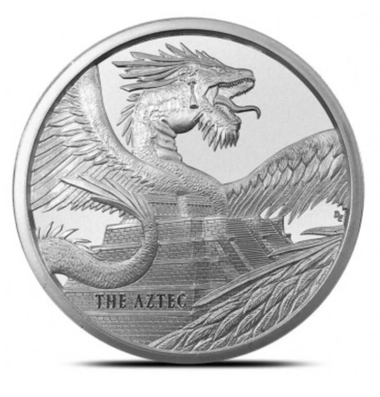 THE AZTEC DRAGON WORLD OF DRAGONS 1 OZ SILVER ROUND BU IN CAPSULE * 1ST ISSUE *