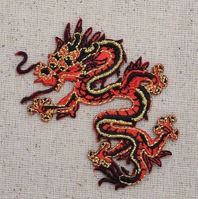 Chinese Dragon Face (Large Dragon Facing Left - Chinese Red/Black Iron on Applique/Embroidered)
