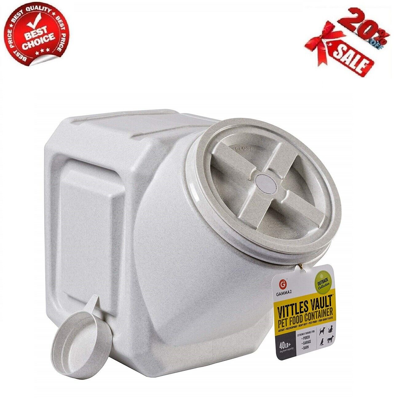 New Vittles Vault 40-Pound Stackable Pet Food Storage Dog Cat Container Airtight