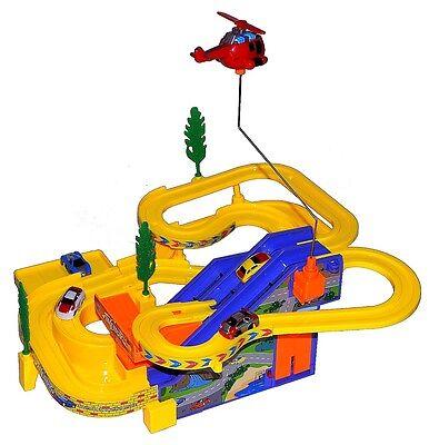 Elektrische Kinder Spielzeug Musik Rennbahn Autobahn mit Autos & Helikopter NEU
