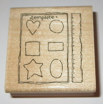 (Scrapbook Template Rubber Stamp Ruler JRL Design Star Heart Circle Square )
