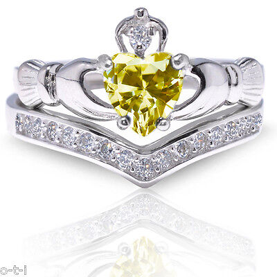 Diamond Set Celtic Ring - Citrine Claddagh Heart Simulated Diamond Celtic Sterling Silver Ring Set