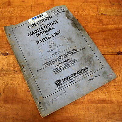 Taylor-dunn Mr-534-03 Operation Maintenance Manual With Parts List - Used
