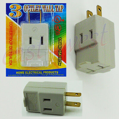 3 Outlet 3 Way 2-Prong Wall Tap Plug Adapter UL Grounded AC Power Socket 1PK NEW