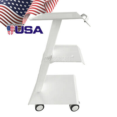Three-ply Medical Mobile Instrument Cart Built-in Socket Metal Dental Trolley
