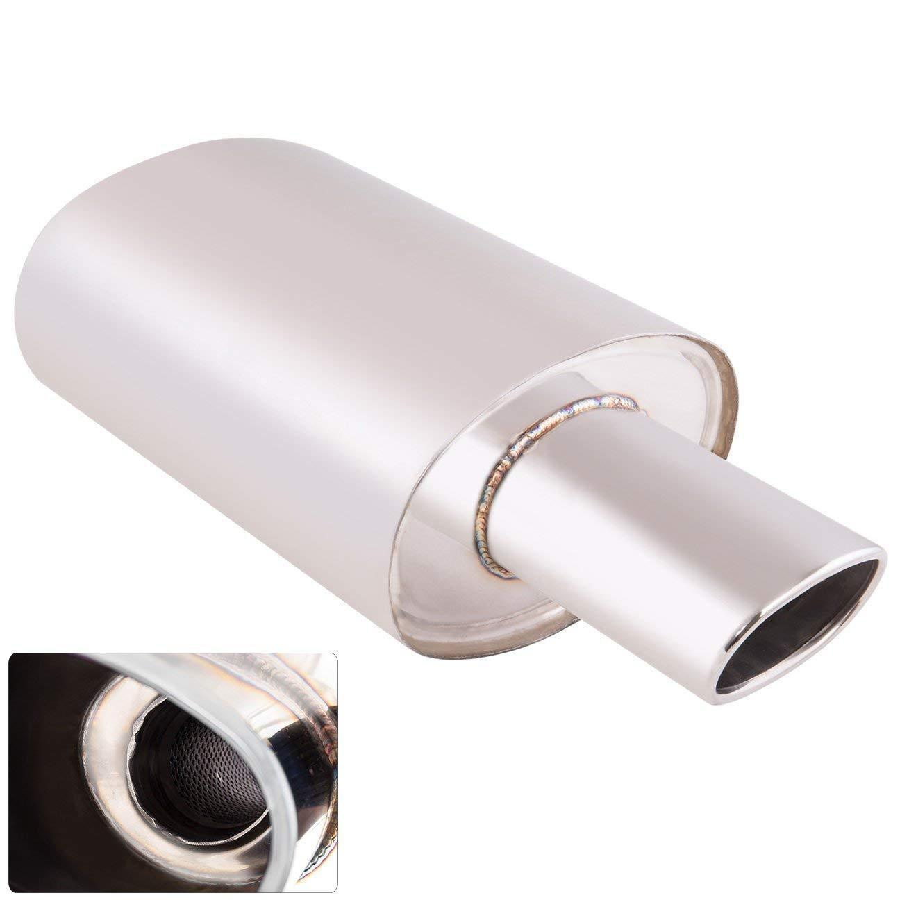 """Universal Muffler 4/"""" Chrome Burnt Oval Tip 3/"""" Pipe Exhaust Stainless Steel"""