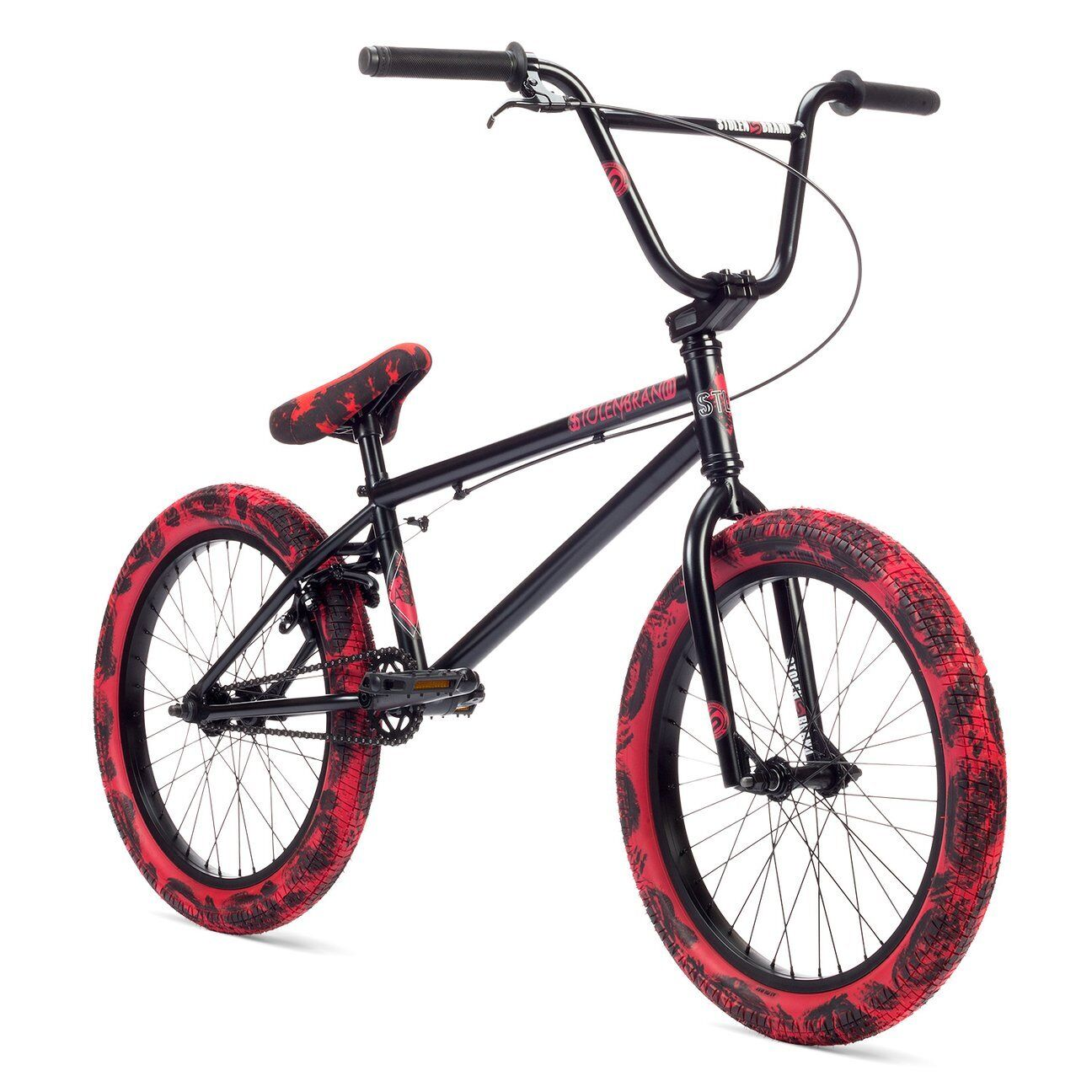 "Stolen Casino XL 20"" BMX Bike Black & Red Tie Dye Complete BMX Bicycle"