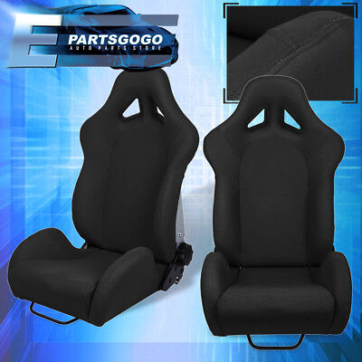 Used, For Lotus Benz Full Reclinable Black Cloth Racing Bucket Seat + Slide Mounts Kit for sale  La Puente