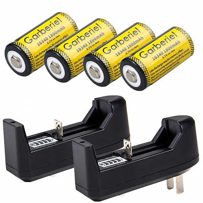4Pcs Cr123a 1800Mah Rechargeable Batteries 16340 Battery 3 7V Li Ion   2Xcharger