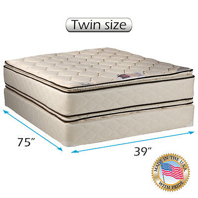Dream Solutions USA Coil Comfort Pillow Top Mattress and Box Spring Set (Queen) Box Top Mattress Set Queen