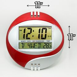 LCD Circular Digital Desketop +Wall 11 Round Clock Thermometer Time Alarm Date