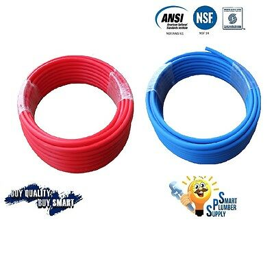 2 Rolls Of 12 X 100 Pex Tubing Red Blue For Water Supply W25 Years Warranty