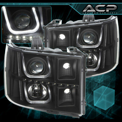 07-13 GMC Sierra Black Housing Projector Headlights Clear Lens LED Pair